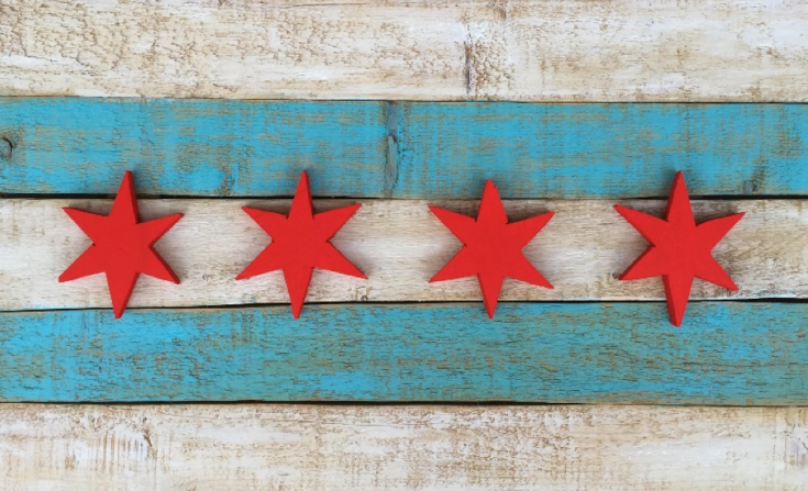 The Chicago flag, made from wood salvaged at The Plant. (Photo Credit: Mari Viramontes)