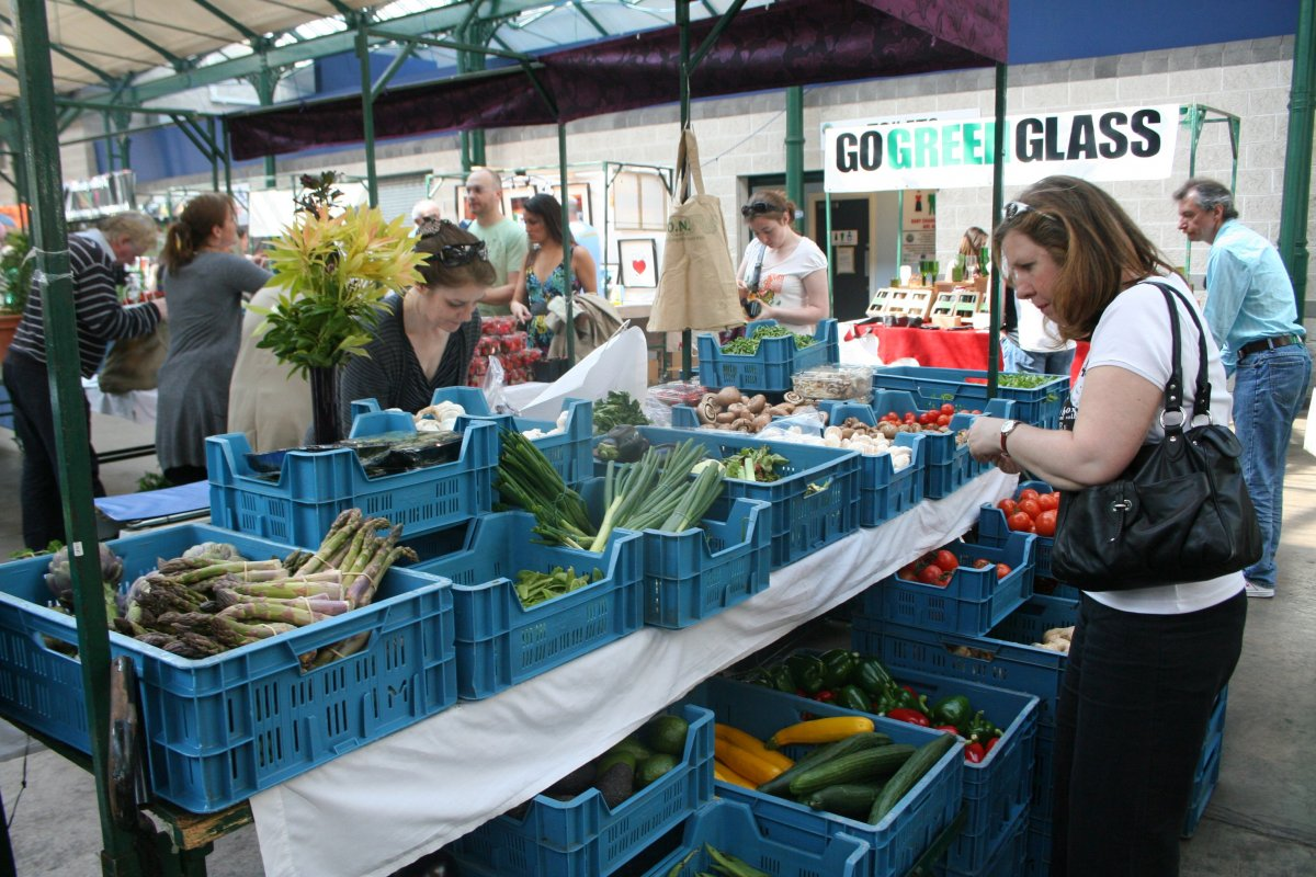 St. George's market in Belfast, Northern Ireland. The popular weekend market provides a space for local producers to sell fish, meat, dairy products, and produce. (Photo Credit: Robin Kirk)