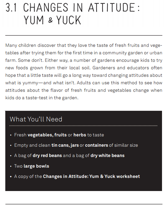 Section of the toolkit that discusses changes in attitude of children after tasting garden grown vegetables