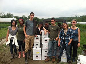 Volunteers pose next to boxes of gleaned food, all destined for a Vermont food hub. Numerous food hubs in the state supply produce to schools. Photo Credit: Rutland Area Food and Farm Link (RAFFL)