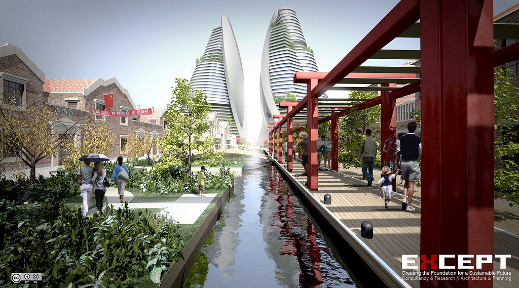 Food Gardens, Channels, Vertical Farms - Shanghai Sustainable Masterplan (Photo Credit: Except)