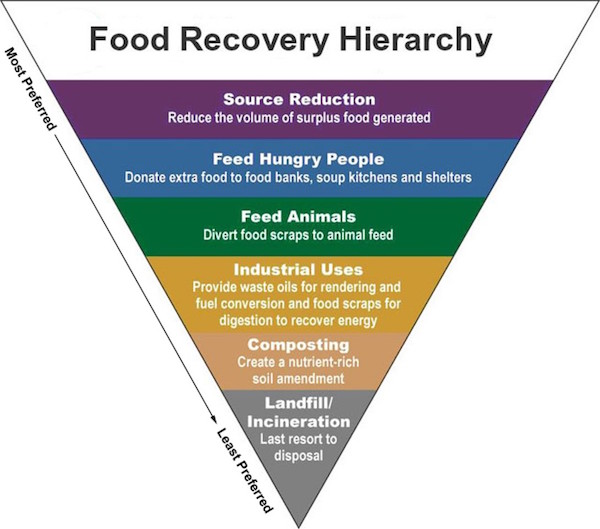 The food recovery hierarchy places reduction as the most preferred means of reducing food waste.