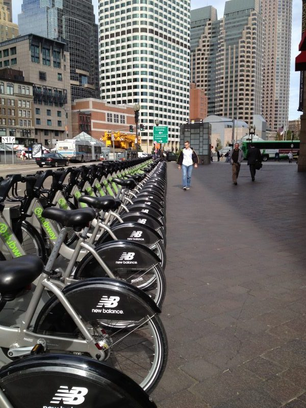 Hubway provides bicycles for rental throughout the city of Boston. Such efforts to promote cycling in cities can improve the health of residents. (Photo Credit: Dravium Polcaro)